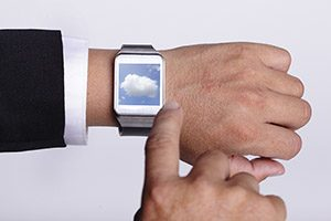 Cloud computing tech with smart watch concept